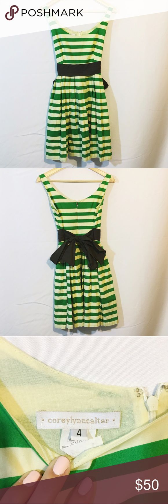 Anthro coreylynncalter green stripe cocktail dress Like new condition. So cute!!! From designer Corey Lynn calter for anthropologie. Skater skirt pleated with back tie no stains Anthropologie Dresses Midi