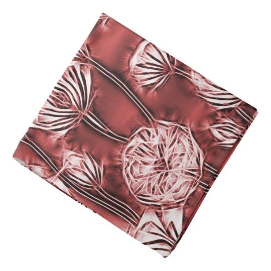 Abstract floral pattern, yellow flowers on red bandana
