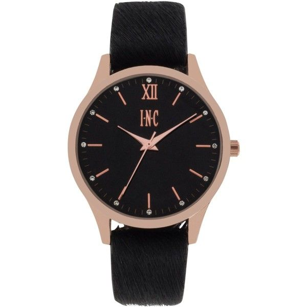 INC Women's Faux Calf Hair Leather Strap Watch 38mm, Created for... (280755 PYG) ❤ liked on Polyvore featuring jewelry, watches, accessories, rose gold, imitation watches, imitation jewellery, black and gold watches, faux watches and imitation jewelry