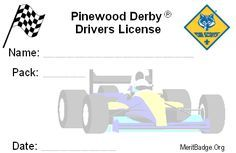 pinewood derby drivers license