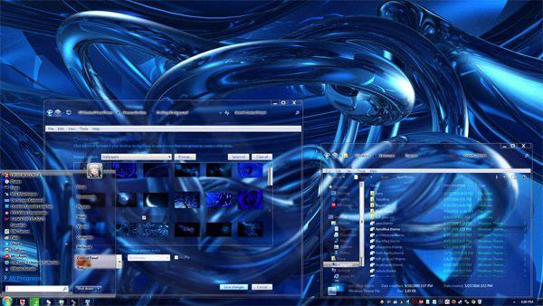 Wild Blue Glass Windows 7 Theme - free Windows 7 Visual Styles, Windowblinds, Miscellaneous themes download