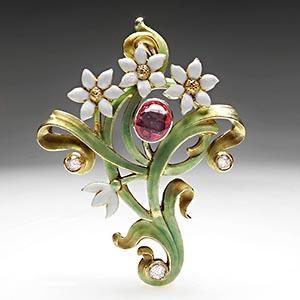 ART NOUVEAU FLOWER ENAMEL PINK SAPPHIRE & DIAMOND PENDANT: