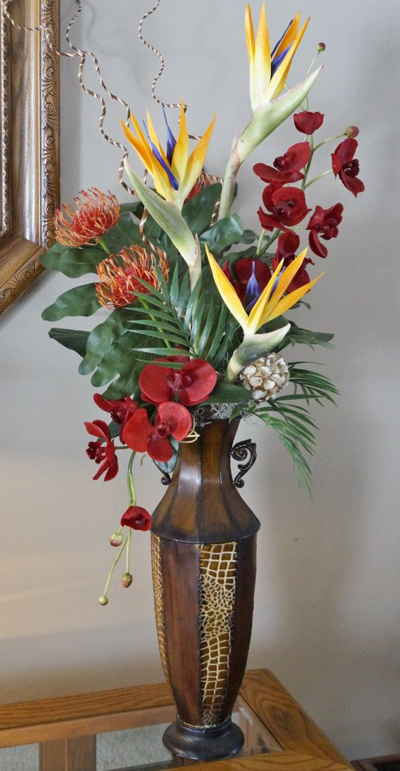Silk Floral Arrangement, Floral Decor, Tropical Flowers, Center Piece, Birds of Paradise, Protea and Orchids on Etsy, $95.00