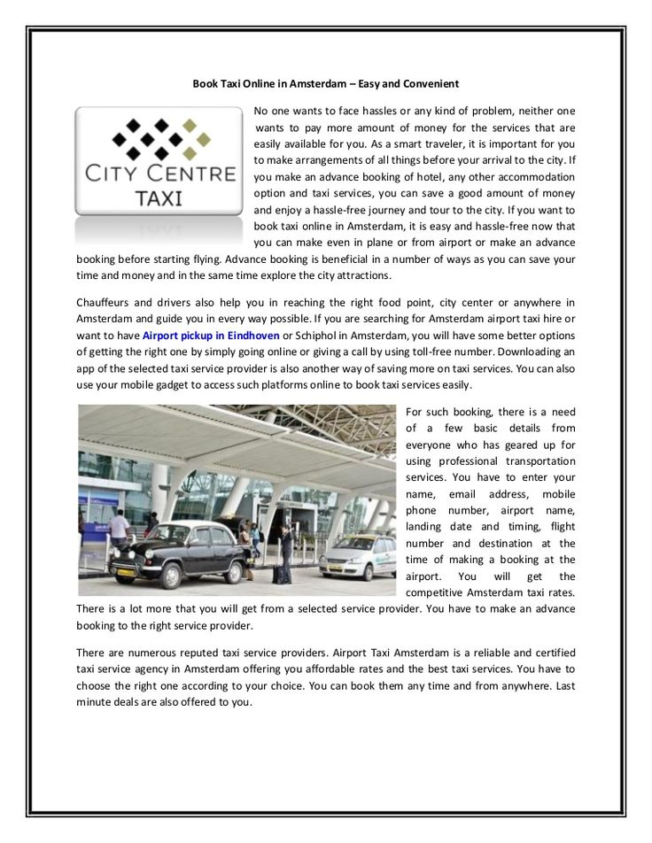 Book Taxi Online in Amsterdam – Easy and Convenient
