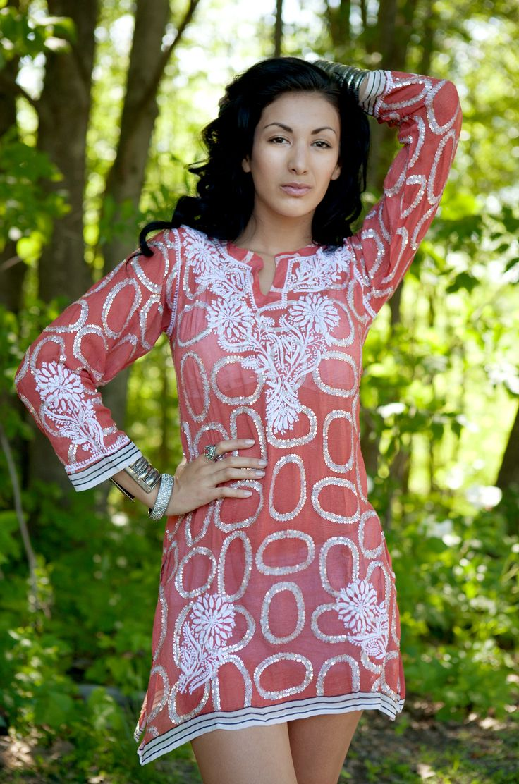 Contemporary georgette tunic with chikan embroidery