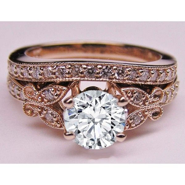 Diamond Butterfly Vintage Engagement Ring & Matching Wedding Ban In Rose Gold - ES334BRBSPG