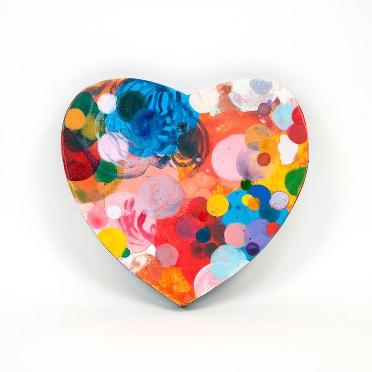 Heart, 2016, painting on woodenpanel 21x19cm- Dennis Happé