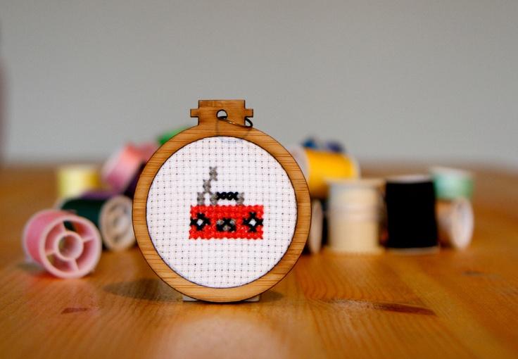 Boom Box Cross-stitch Pendant -whistlingteapot.com.au