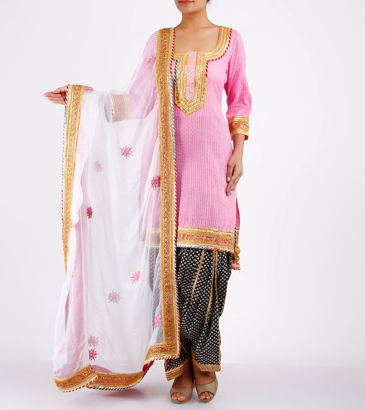 Pink Pintucked & Gota Work Cotton & Chiffon Patiala Salwar Kameez