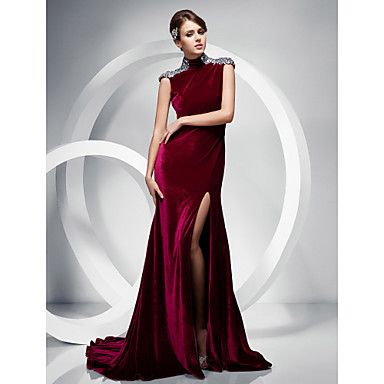 TS Couture Formal Evening Dress - Burgundy Plus Sizes / Petite Trumpet/Mermaid High Neck Sweep/Brush Train Velvet – USD $ 89.99