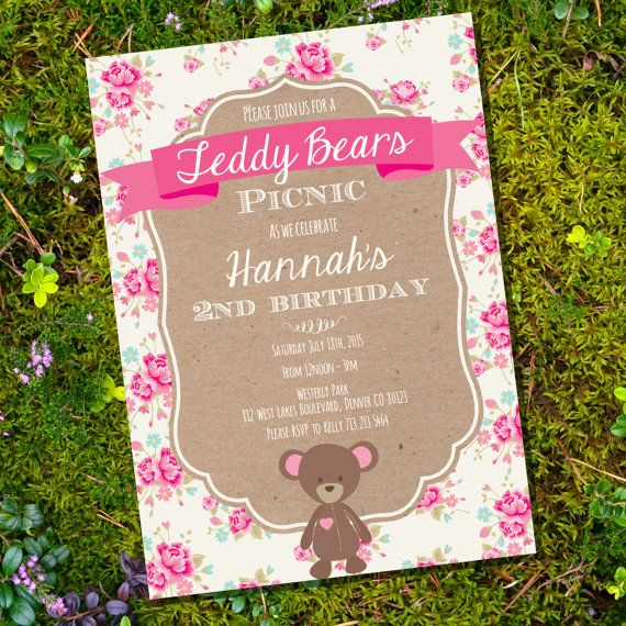 Teddy Bear Picnic Party Invitation - Shabby Chic Party Invitation - Instant Download and Edit File at home with Adobe Reader