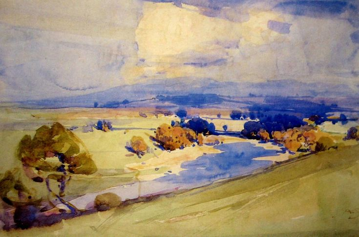 """Arthur Streeton - """"Hawkesbury Landscape"""". Watercolour on paper, signed with initials lower right, 17.5 x 26 cm"""