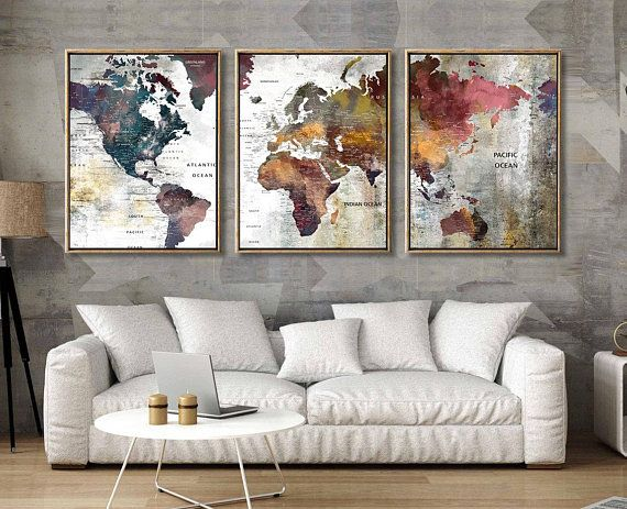 3 Panel World Map Print Map World Watercolor Abstract Colorful Wall Decor 3 Piece Large World Map Wall Art Map Wall Art World Map Wall Art Extra Large Wall Art