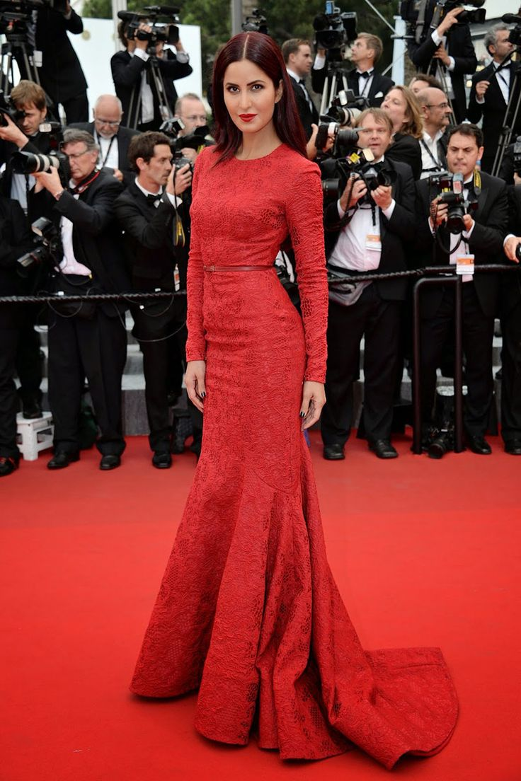 Katrina Kaif Red Lace Long Sleeve Trumpet Celebrity Evening Dress Cannes 2015