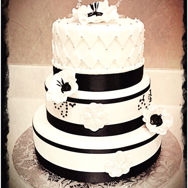 Black and White 75th birthday cake Cakes by .... ME ...