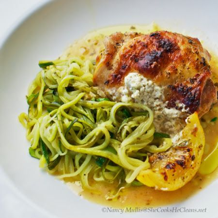 Lemon Garlic Chicken with Goat Cheese and Zucchini Noodles