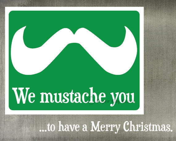 Mustache Christmas Card by PaperCityCards on Etsy