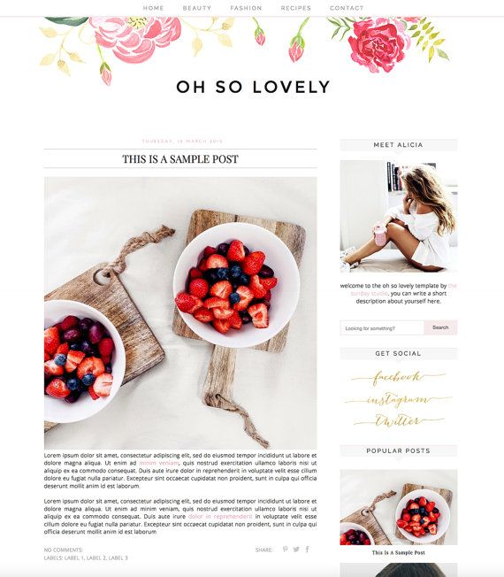 View a live demo of this template - http://ohsolovelydemo.blogspot.com/  **INSTANT DOWNLOAD via Etsy after your payment has cleared**