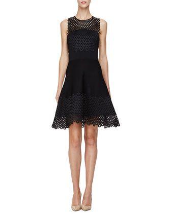 Sleeveless Circle-Lace Mini Dress, Black by Lela Rose at Neiman Marcus.