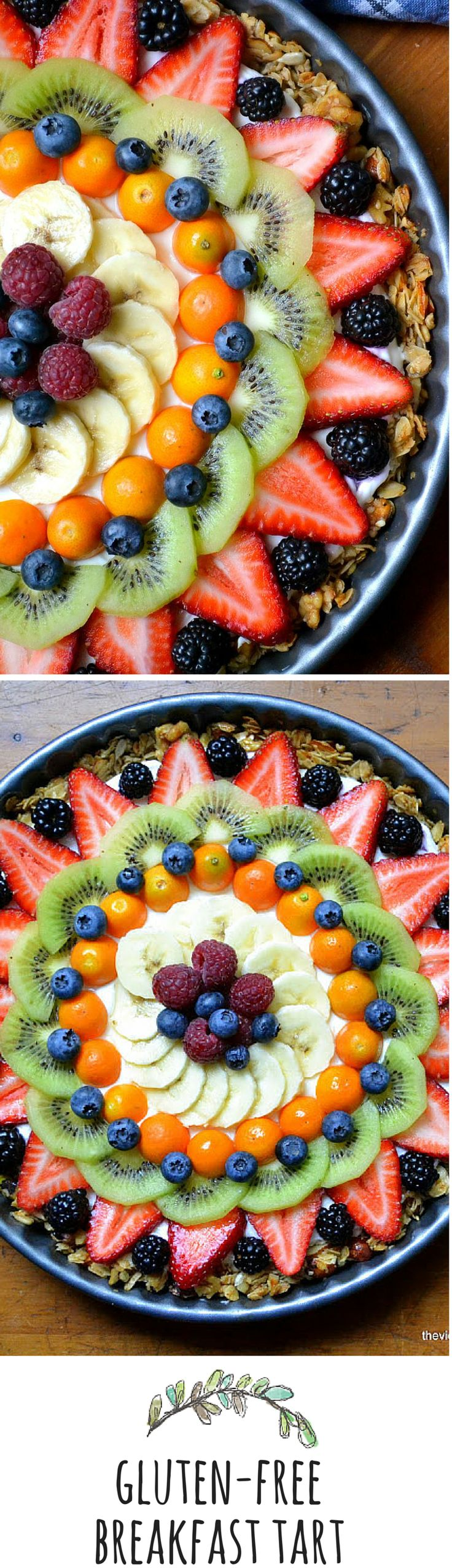 A little glam for the breakfast hour...healthy and gluten free, this fruit and yogurt tart is a winner!