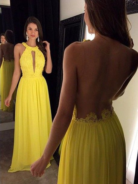 Yellow Prom Dresses,Elegant Evening Dresses,Long Formal Gowns,Beaded Party Dresses,Chiffon Pageant Formal Dress,Backless Prom Dresses