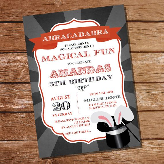Magic Party Invitation  Magician Party by SunshineParties on Etsy
