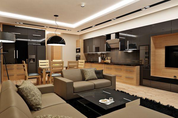 Кухня совмещенная  с гостинной. by Rash_studio , via Behance