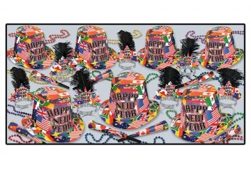 """This assortment for 50 people includes: 25 Printed hi-hats, 25 Printed plumed tiaras, 50 9"""" printed foil horns, 25 33"""" Party beads"""