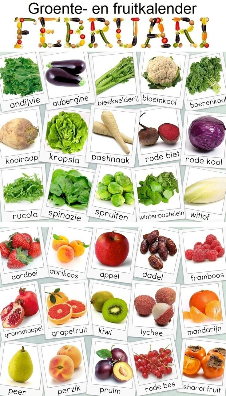 names of vegetables and fruit - in Dutch