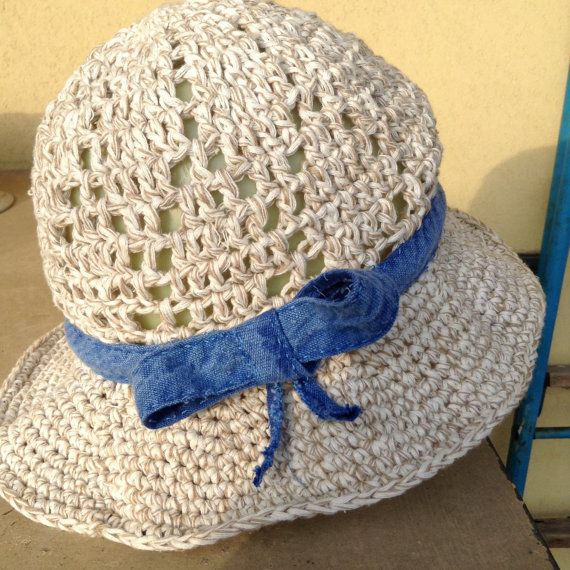 Summer crochet hat in cotton and linen by dallemanidellaLibe