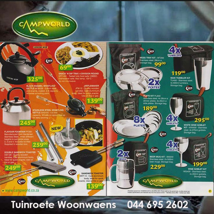 Visit Tuinroete Woonwaens Campworld for our mid-year clearance sale on various cooking utensils and camping gear. Our showroom situated in Voorbaai, Mossel Bay has these and many more great offers. #camping #lifestyle #outdoorliving