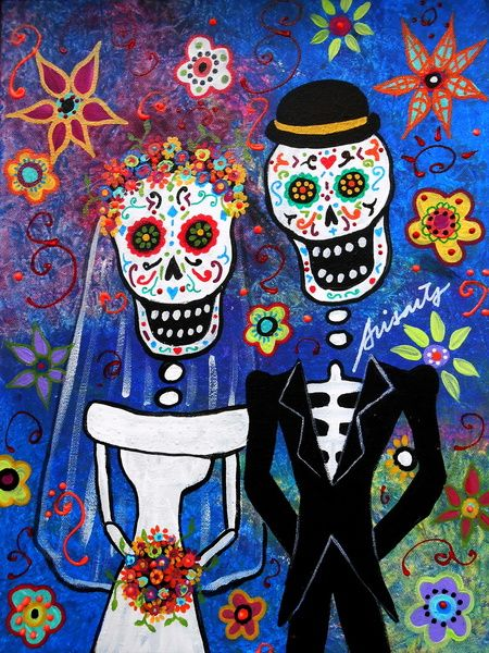 Mexican Folk Art Wedding Painting Art Print