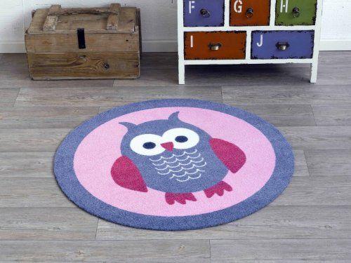 velours kinder teppich eule blau rosa rund 100 cm designer. Black Bedroom Furniture Sets. Home Design Ideas