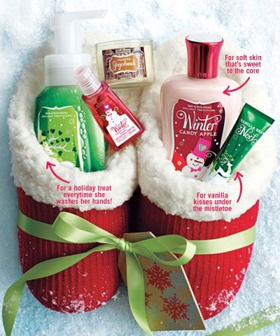 Good idea for Christmas. Stocking stuffer?! Slippers (I LOVE THESE!) filled with Bath and Body Works Christmas items.