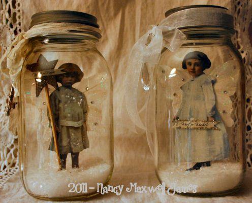 .Fairies in Jars!!!!!Vintage Christmas, Christmas Jars, Vintage Winter Scene, Jars Art, Vintage Photos, Snow Globes, Old Photos, Fairies Jars, Christmas Scene Jars
