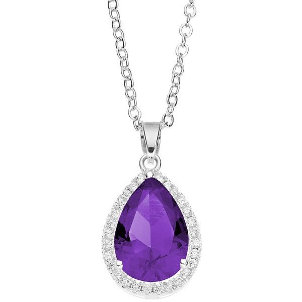 City ROX Cubic Zirconia Teardrop Halo Pendant Necklace ($50) ❤ liked on Polyvore featuring jewelry, necklaces, purple, purple pendant necklace, teardrop pendant necklace, purple teardrop necklace, teardrop necklace and pendant necklace