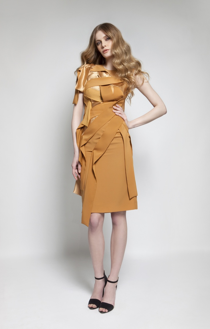CHRISTOS COSTARELLOS AW 12-13  Crepe + Silk Satin Midi Dress.