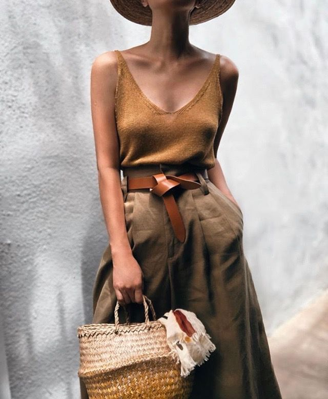 Summer wear in caramel tones with wide legged trou…
