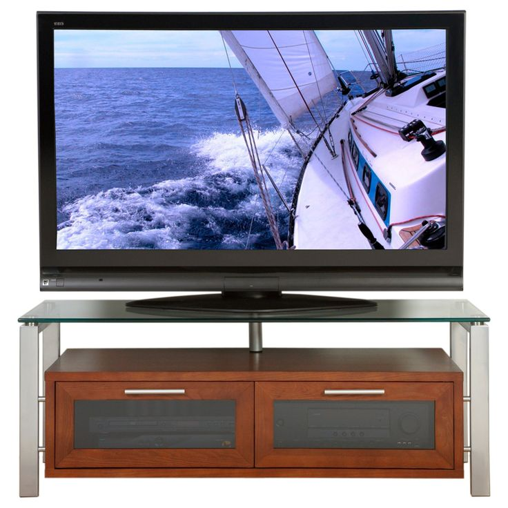 Plateau Decor 50 Inch TV Stand in Walnut with Silver Frame - DECOR 50 (W)-S