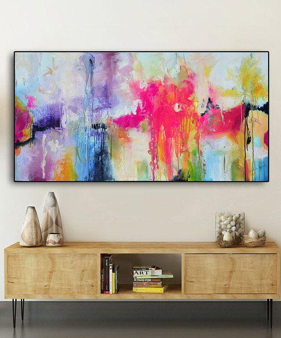 Abstract painting pink fuchsia purple, purple Blue Print Large pink painting print, long painting print on canvas, canvas print