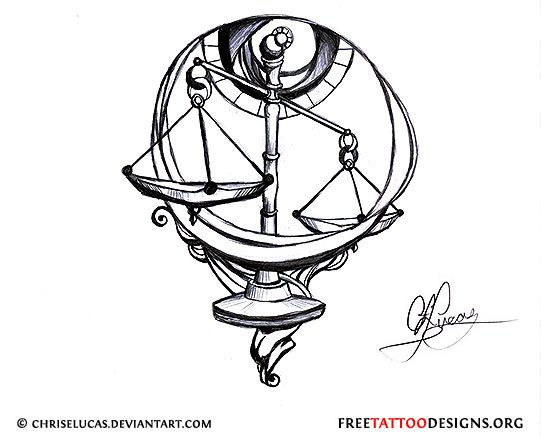 Libra scales tattoo design