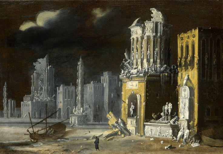 """"""" Fantastic Ruins with Saint Augustine and the Child - François de Nomé, 1623 """""""