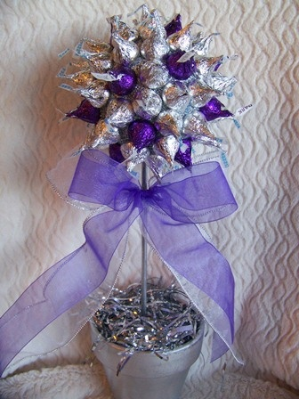 candy centerpiece, could use red, green, Christmas colors for teachers gift, afforadable and cute~