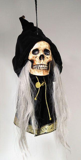 GRIM DELUXE HANGING SKULL PROP Door Haunted House Creepy Scary Effects Halloween #MarioChiodo