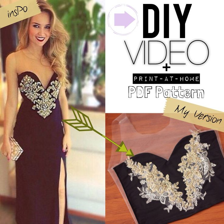 "DIY CROP TOP:  tulle + stretch fabric w/ embellished appliques!! ""Get The Look"" + ""Fashion Lust"" = lustinglooks.com ❤ Video tutorials & PDF Sewing patterns to print at home!!"