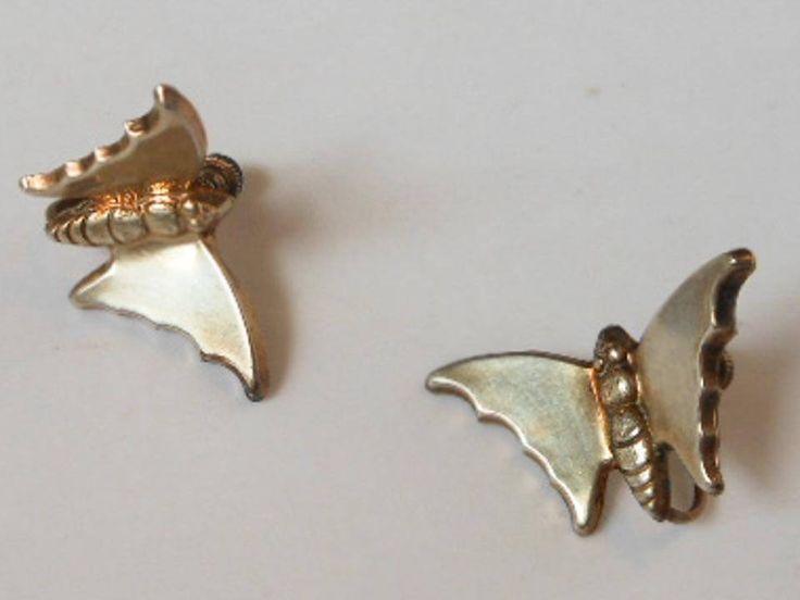Sterling Silver Butterfly Dimensional Screw Back Earrings        Art Deco by GemstoneCowboy on Etsy