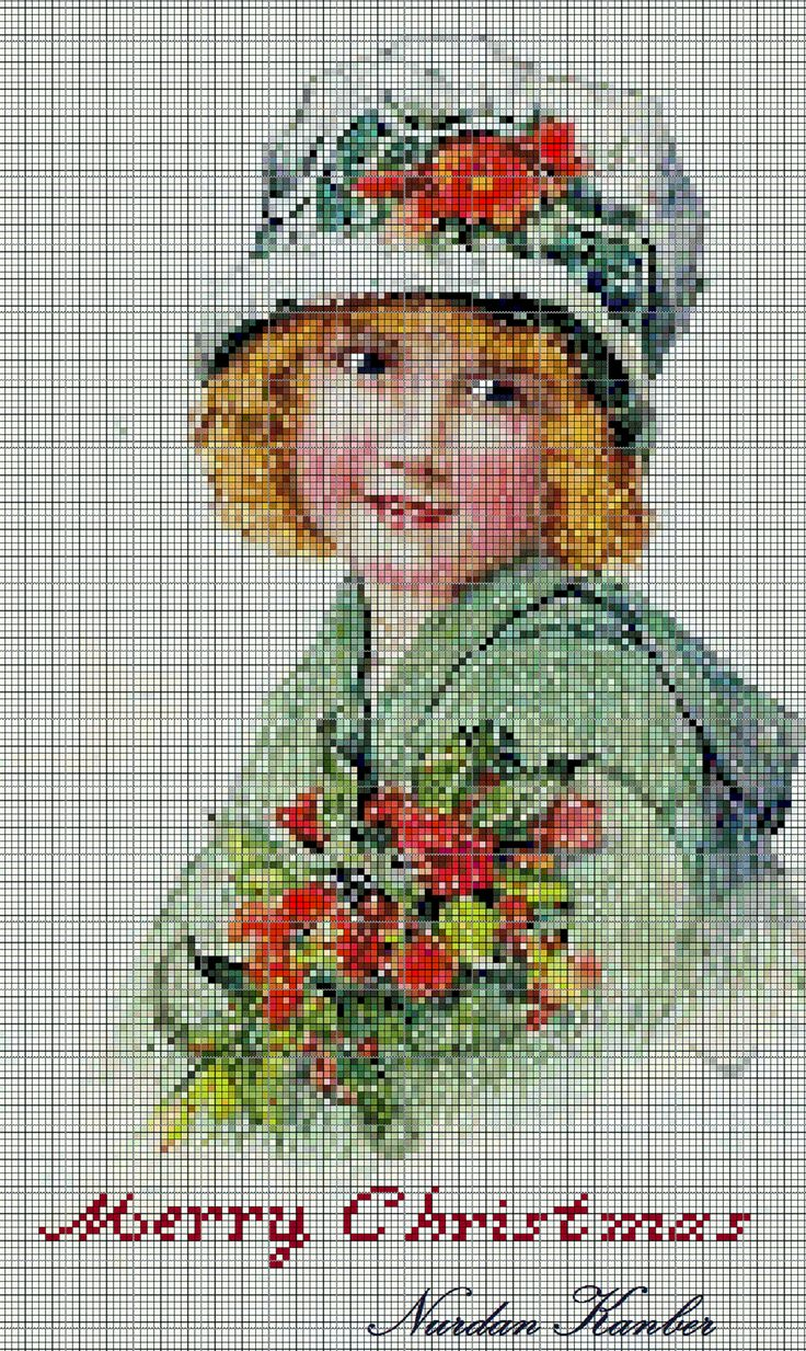 Girl with holly! A vintage Christmas Card trial into cross stitching