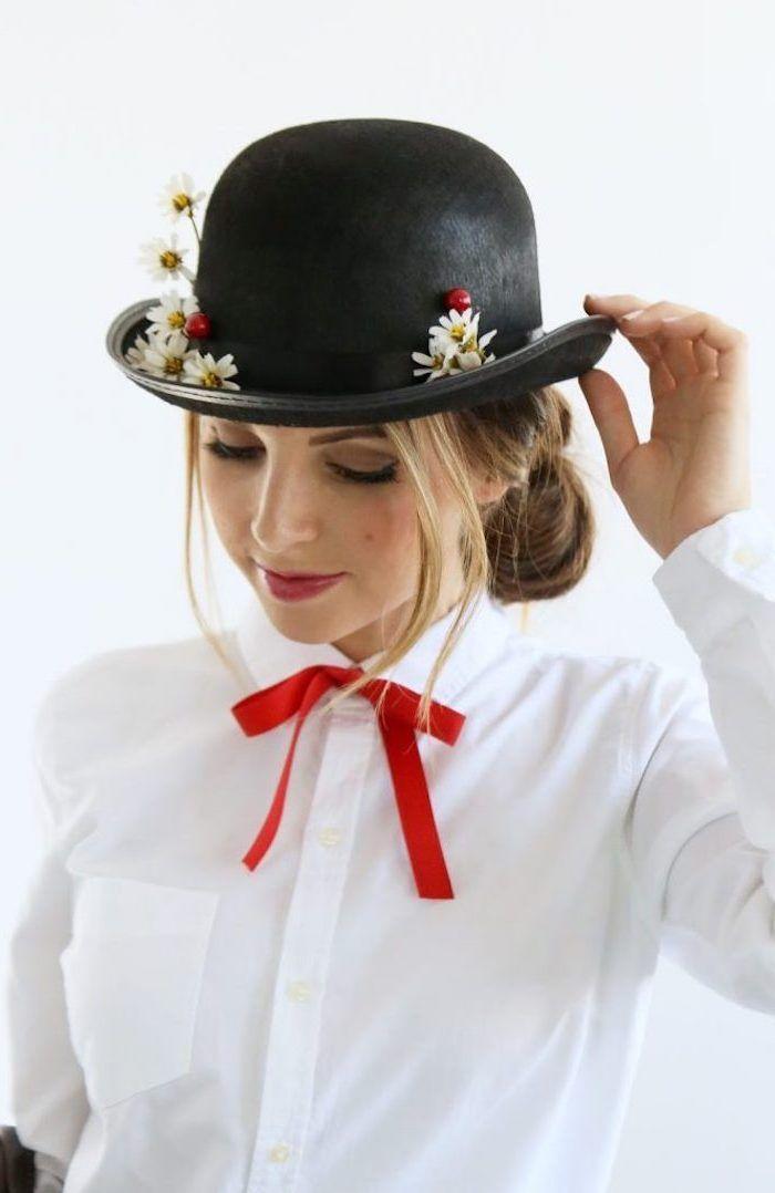 Mary Poppins Kostüm für Fasching, weißes Hemd mit rotem Band, schwarzer Hut mit Blumen