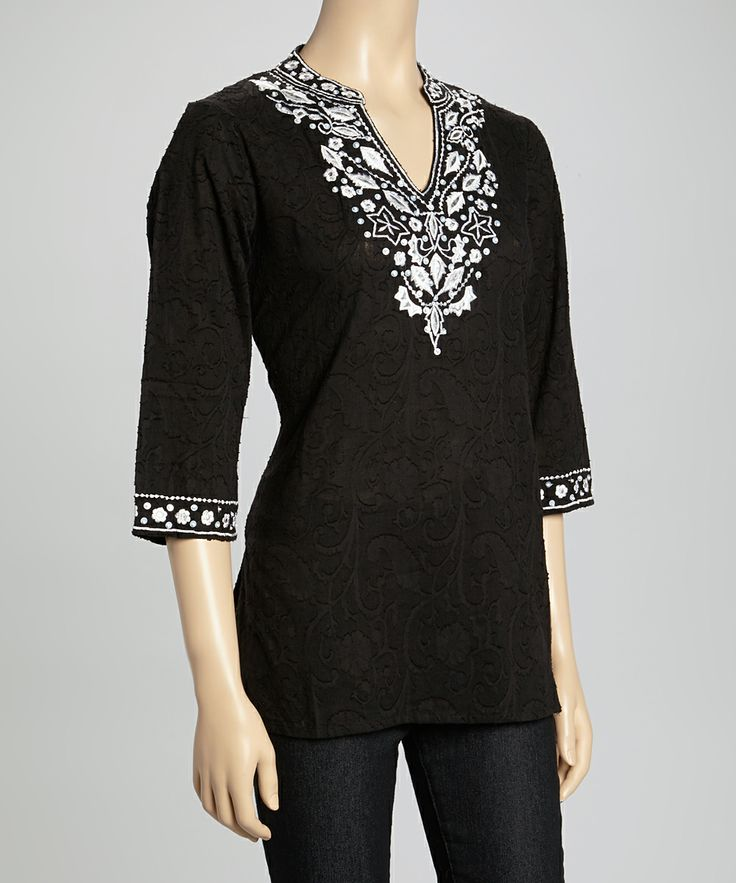 Black Embroidered Tunic | Daily deals for moms, babies and kids