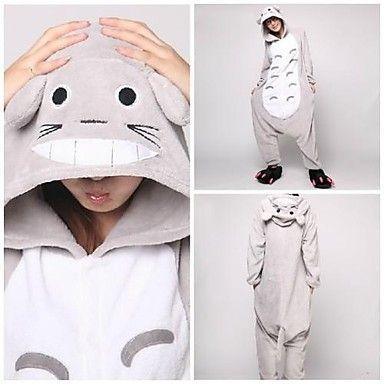 Cute Gray Totoro Adult Coral Fleece Kigurumi Pajamas Animal Sleepwear
